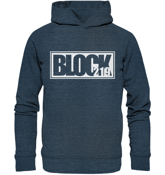"N.O.S.W. BLOCK Hoodie ""BLOCK219"" Männer Organic Fashion Kapuzenpullover dark heather blau"
