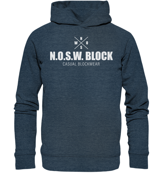 "N.O.S.W. BLOCK Hoodie ""CASUAL BLOCKWEAR"" Männer Organic Fashion Kapuzenpullover dark heather blau"