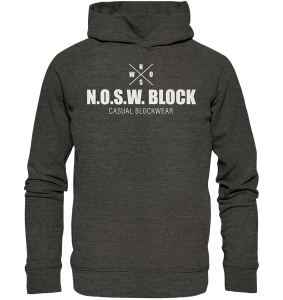 "N.O.S.W. BLOCK Hoodie ""CASUAL BLOCKWEAR"" Männer Organic Fashion Kapuzenpullover dark heather grau"