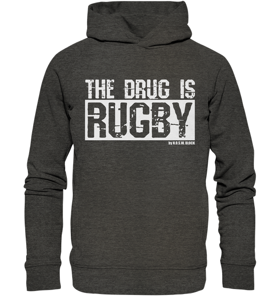 "Fanblock Hoodie ""THE DRUG IS RUGBY"" Männer Organic Fashion Kapuzenpullover darkheather grau"
