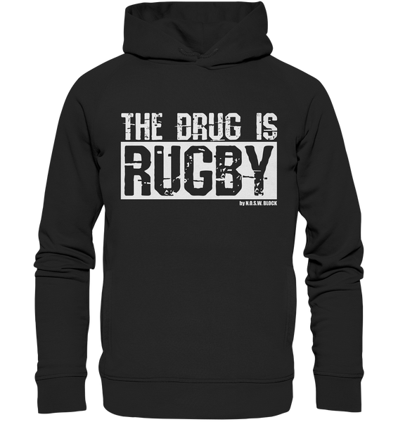"Fanblock Hoodie ""THE DRUG IS RUGBY"" Männer Organic Fashion Kapuzenpullover schwarz"