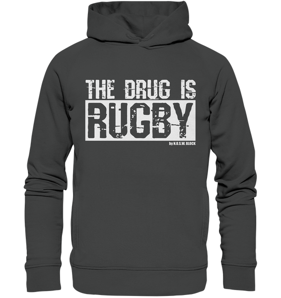 "Fanblock Hoodie ""THE DRUG IS RUGBY"" Männer Organic Fashion Kapuzenpullover anthrazit"