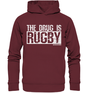 "Fanblock Hoodie ""THE DRUG IS RUGBY"" Männer Organic Fashion Kapuzenpullover weinrot"