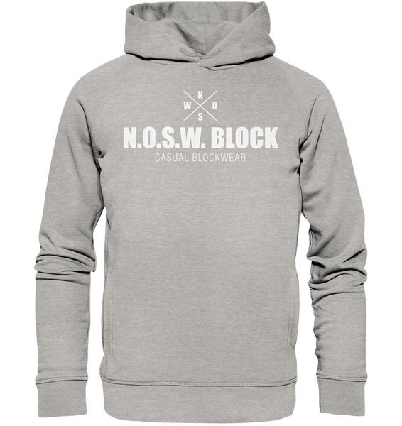 "N.O.S.W. BLOCK Hoodie ""CASUAL BLOCKWEAR"" Männer Organic Fashion Kapuzenpullover heather grau"