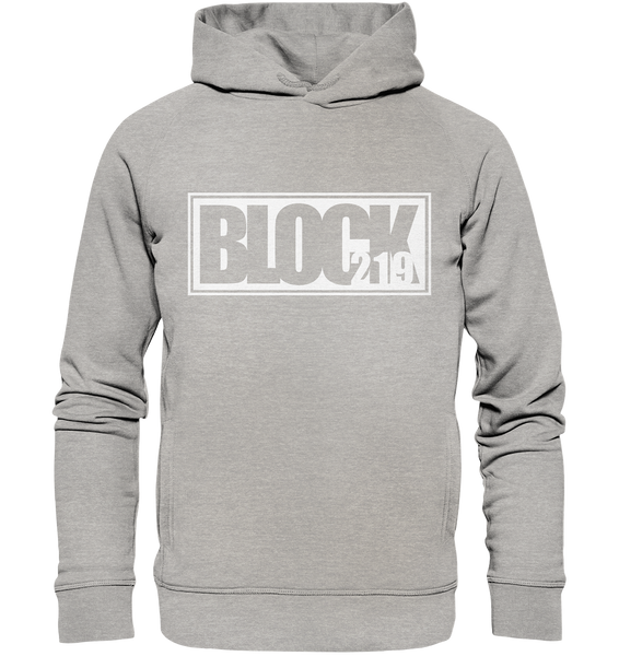 "N.O.S.W. BLOCK Hoodie ""BLOCK219"" Männer Organic Fashion Kapuzenpullover heather grau"