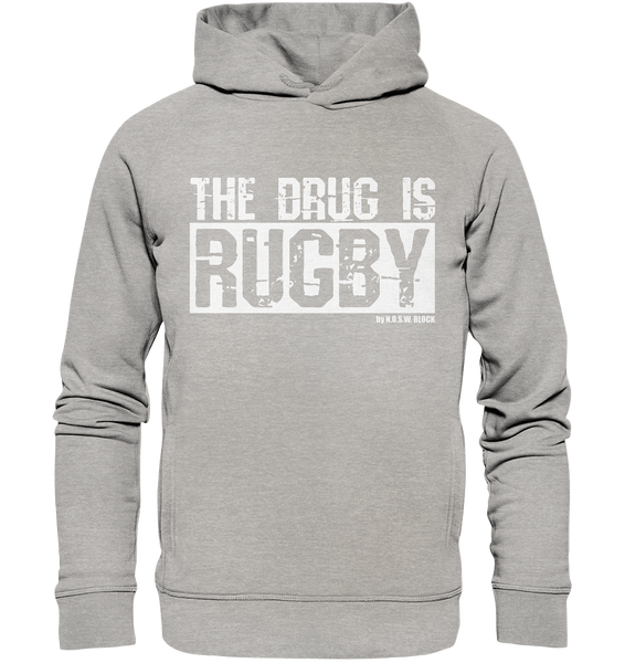"Fanblock Hoodie ""THE DRUG IS RUGBY"" Männer Organic Fashion Kapuzenpullover heather grau"