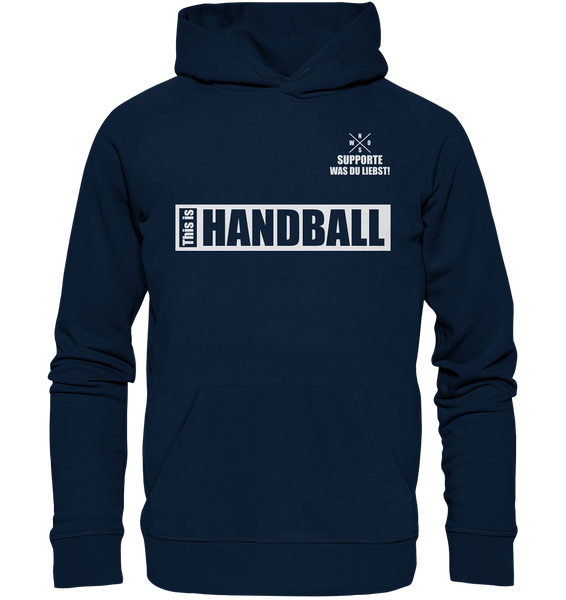 "Teamsport Hoodie ""THIS IS HANDBALL"" Männer Organic Kapuzenpullover navy"