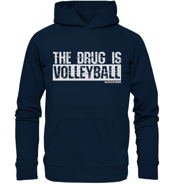 "Fanblock Hoodie ""THE DRUG IS VOLLEYBALL"" Männer Organic Kapuzenpullover navy"