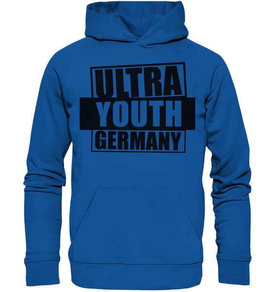 "Ultras Hoodie ""ULTRA YOUTH GERMANY"" Männer Organic Kapuzenpullover blau"