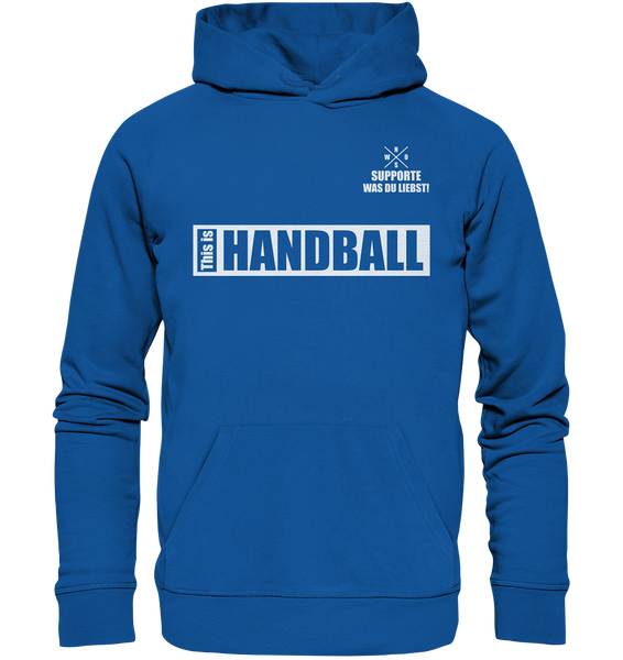 "Teamsport Hoodie ""THIS IS HANDBALL"" Männer Organic Kapuzenpullover blau"