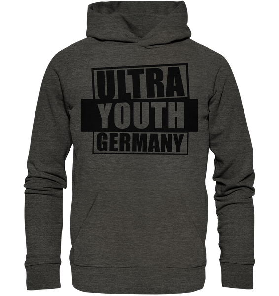 "Ultras Hoodie ""ULTRA YOUTH GERMANY"" Männer Organic Kapuzenpullover dark heather grau"