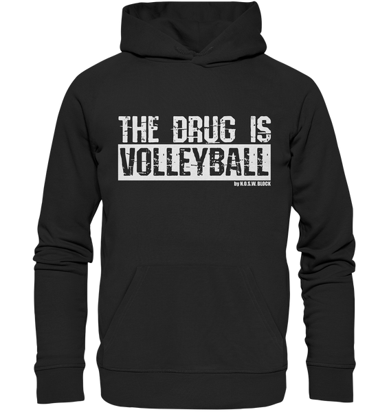 "Fanblock Hoodie ""THE DRUG IS VOLLEYBALL"" Männer Organic Kapuzenpullover schwarz"