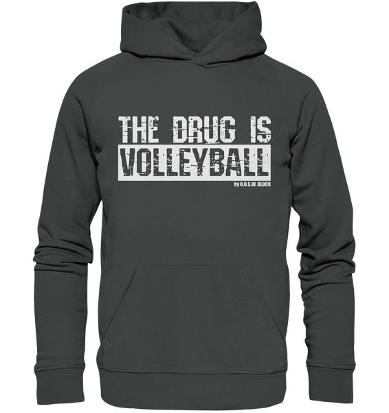 "Fanblock Hoodie ""THE DRUG IS VOLLEYBALL"" Männer Organic Kapuzenpullover anthrazit"