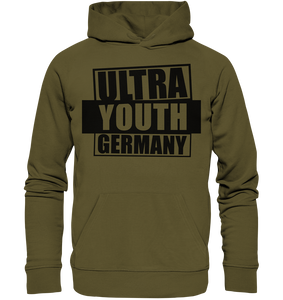 "Ultras Hoodie ""ULTRA YOUTH GERMANY"" Männer Organic Kapuzenpullover khaki"