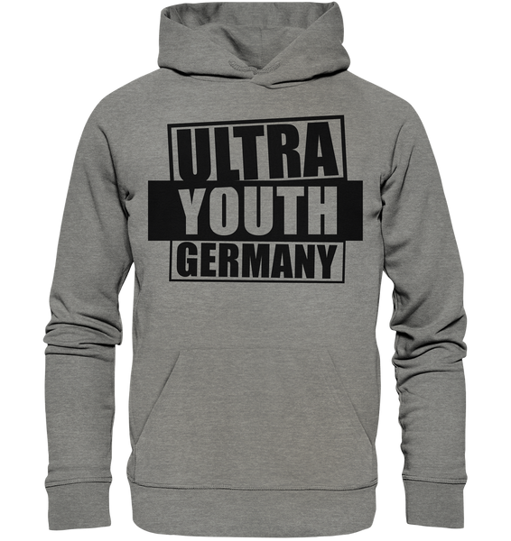 "Ultras Hoodie ""ULTRA YOUTH GERMANY"" Männer Organic Kapuzenpullover mid heather grau"