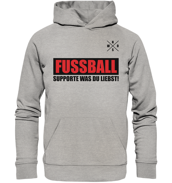 "Teamsport Hoodie ""FUSSBALL SUPPORTE WAS DU LIEBST!"" Männer Organic Kapuzenpullover heather grau"