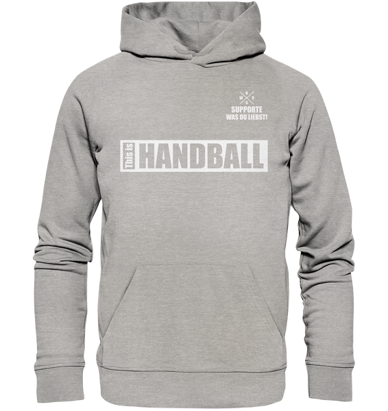 "Teamsport Hoodie ""THIS IS HANDBALL"" Männer Organic Kapuzenpullover heather grau"