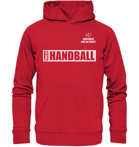 "Teamsport Hoodie ""THIS IS HANDBALL"" Männer Organic Kapuzenpullover rot"