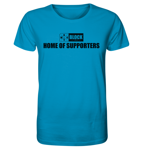 "N.O.S.W. BLOCK Shirt ""HOME OF SUPPORTERS"" Männer Organic Rundhals T-Shirt azur"