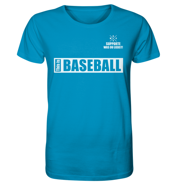 "Teamsport Shirt ""THIS IS BASEBALL"" Männer Organic V-Neck T-Shirt azur"