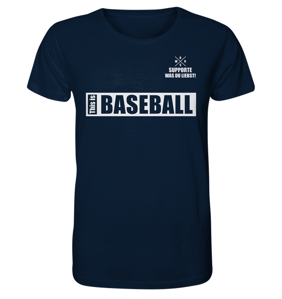 "Teamsport Shirt ""THIS IS BASEBALL"" Männer Organic V-Neck T-Shirt navy"
