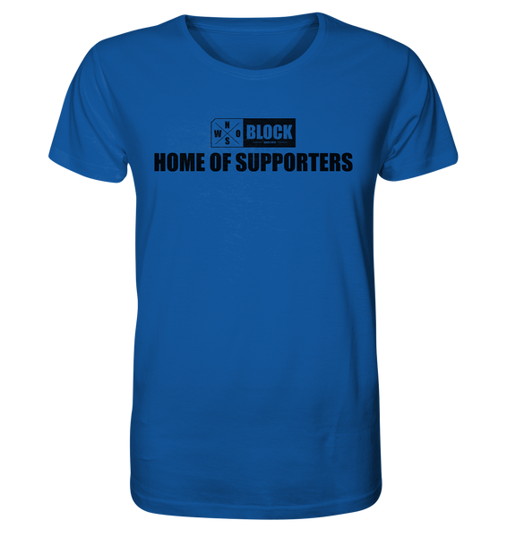 "N.O.S.W. BLOCK Shirt ""HOME OF SUPPORTERS"" Männer Organic Rundhals T-Shirt blau"
