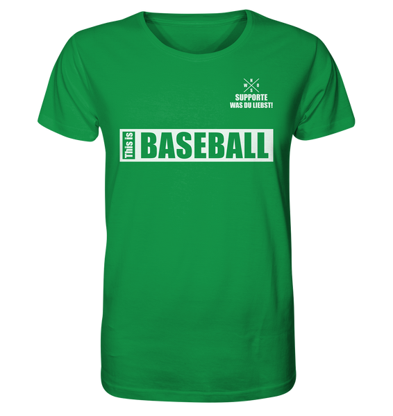 "Teamsport Shirt ""THIS IS BASEBALL"" Männer Organic V-Neck T-Shirt grün"
