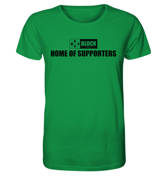 "N.O.S.W. BLOCK Shirt ""HOME OF SUPPORTERS"" Männer Organic Rundhals T-Shirt grün"