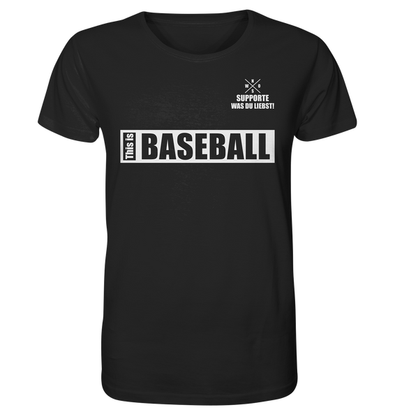 "Teamsport Shirt ""THIS IS BASEBALL"" Männer Organic V-Neck T-Shirt schwarz"