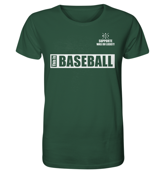 "Teamsport Shirt ""THIS IS BASEBALL"" Männer Organic V-Neck T-Shirt dunkelgrün"