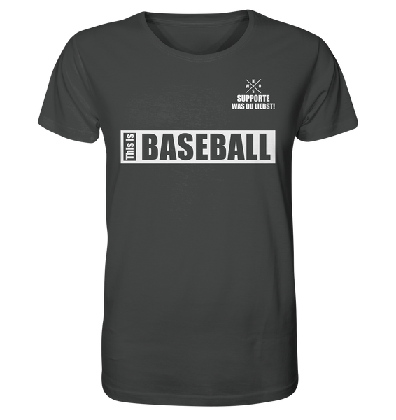 "Teamsport Shirt ""THIS IS BASEBALL"" Männer Organic V-Neck T-Shirt anthrazit"