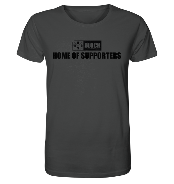 "N.O.S.W. BLOCK Shirt ""HOME OF SUPPORTERS"" Männer Organic Rundhals T-Shirt anthrazit"
