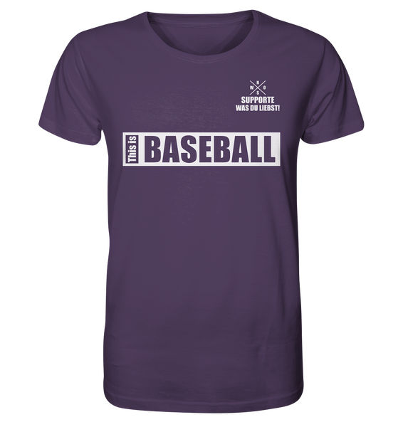 "Teamsport Shirt ""THIS IS BASEBALL"" Männer Organic V-Neck T-Shirt lila"