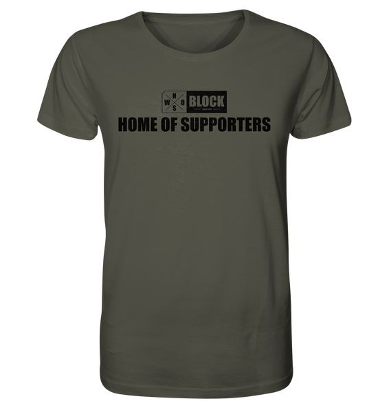 "N.O.S.W. BLOCK Shirt ""HOME OF SUPPORTERS"" Männer Organic Rundhals T-Shirt khaki"