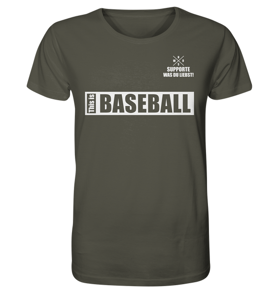 "Teamsport Shirt ""THIS IS BASEBALL"" Männer Organic V-Neck T-Shirt khaki"