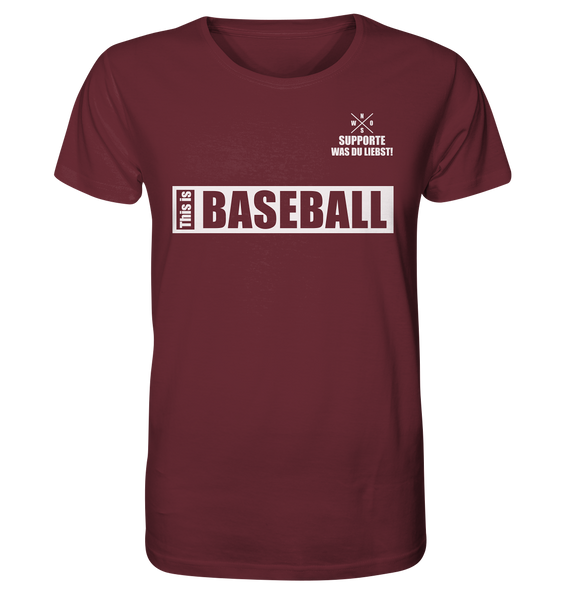 "Teamsport Shirt ""THIS IS BASEBALL"" Männer Organic V-Neck T-Shirt weinrot"