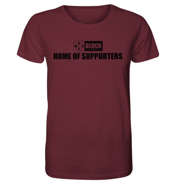 "N.O.S.W. BLOCK Shirt ""HOME OF SUPPORTERS"" Männer Organic Rundhals T-Shirt weinrot"
