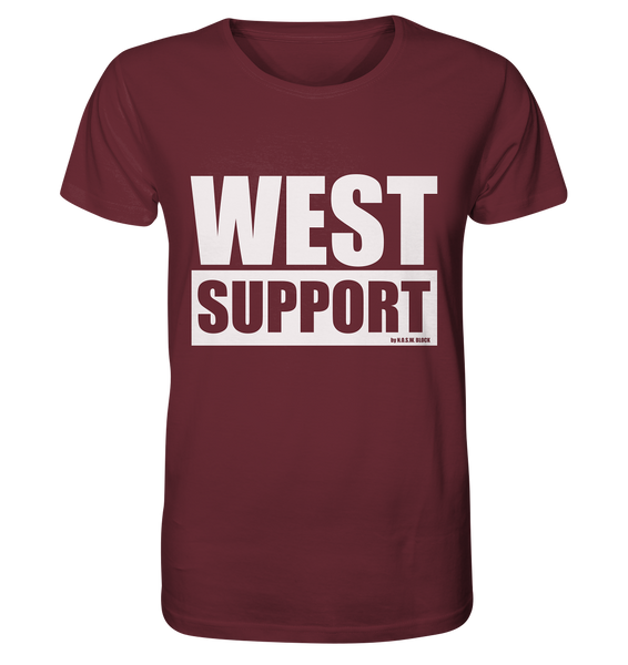 "Fanblock Shirt ""WEST SUPPORT"" Organic Männer T-Shirt weinrot"