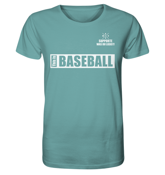 "Teamsport Shirt ""THIS IS BASEBALL"" Männer Organic V-Neck T-Shirt citadel blue"