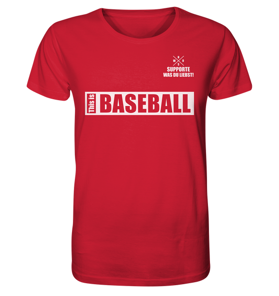 "Teamsport Shirt ""THIS IS BASEBALL"" Männer Organic V-Neck T-Shirt rot"