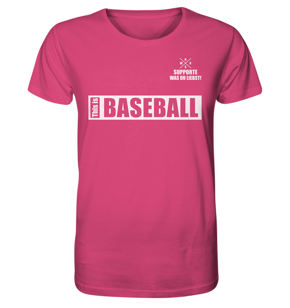 "Teamsport Shirt ""THIS IS BASEBALL"" Männer Organic V-Neck T-Shirt pink"