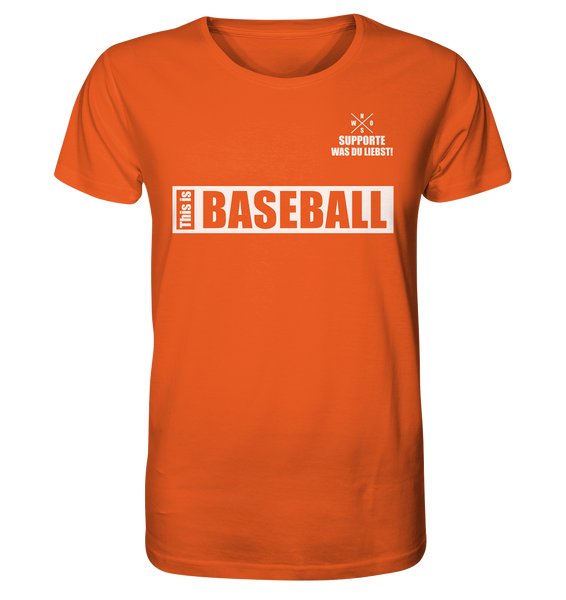 "Teamsport Shirt ""THIS IS BASEBALL"" Männer Organic V-Neck T-Shirt orange"