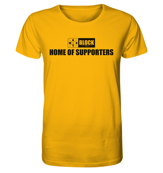 "N.O.S.W. BLOCK Shirt ""HOME OF SUPPORTERS"" Männer Organic Rundhals T-Shirt gelb"