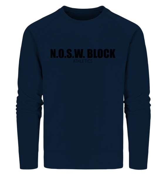 "N.O.S.W. BLOCK Sweater ""N.O.S.W. BLOCK ATHLETICS"" Männer Organic Sweatshirt navy"