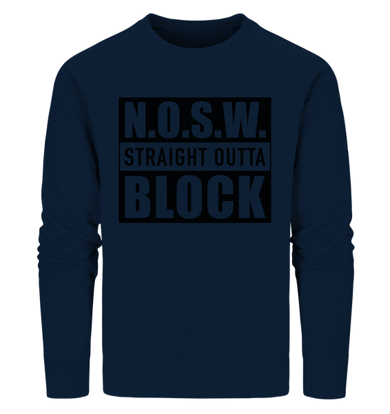 "N.O.S.W. BLOCK Sweater ""STRAIGHT OUTTA"" Männer Organic Sweatshirt navy"