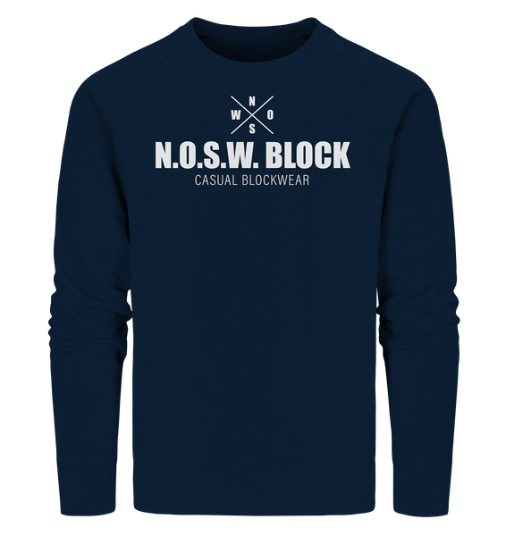 "N.O.S.W. BLOCK Sweater ""CASUAL BLOCKWEAR"" Männer Organic Sweatshirt navy"