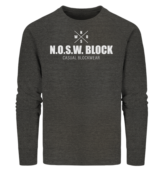 "N.O.S.W. BLOCK Sweater ""CASUAL BLOCKWEAR"" Männer Organic Sweatshirt dark heather grau"