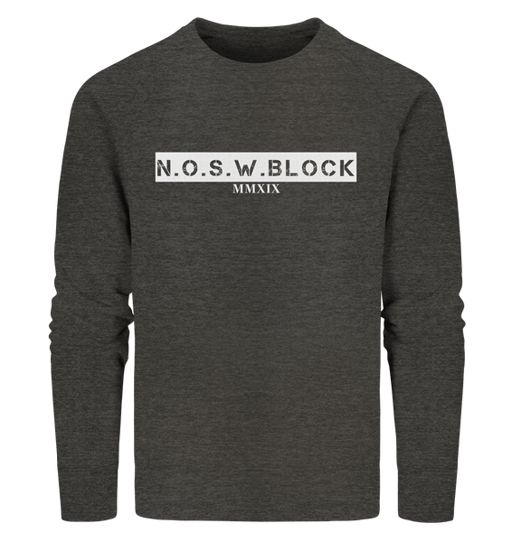 "N.O.S.W. BLOCK Sweater ""MMXIX"" Männer Organic Sweatshirt dark heather grau"