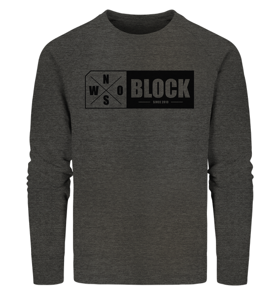N.O.S.W. BLOCK Logo Sweater Männer Organic Sweatshirt dark heather grau