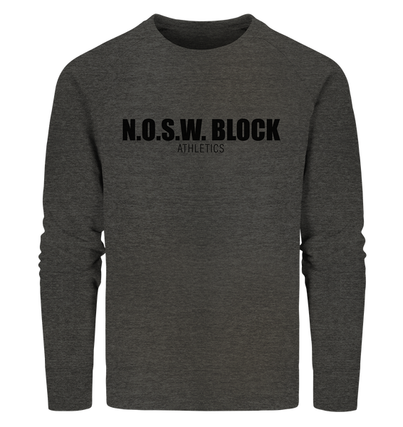 "N.O.S.W. BLOCK Sweater ""N.O.S.W. BLOCK ATHLETICS"" Männer Organic Sweatshirt dark heather grau"